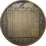 New years calendar medal – obverse