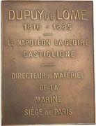 Plaquette - Inauguration of the statue of Henri Dupuy de Lôme – obverse