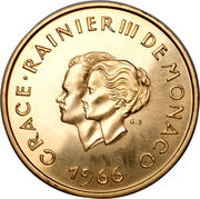 200 Francs - Rainier III (10th Wedding Anniversary; Medallic Coinage) – obverse