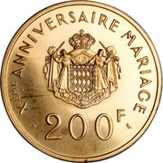 200 Francs - Rainier III (10th Wedding Anniversary; Medallic Coinage) – reverse