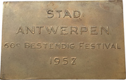 Plaquette - 60th anniversary of the festival of the city of Antwerp – reverse