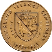 Medal - George V (Falkland Islands Centenary) – reverse