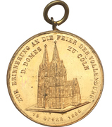 Medal - Completion of the Cologne cathedral – reverse
