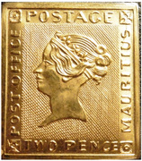 """Token - 2 Pence Mauritius """"Post Office"""" stamp – obverse"""