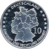 10 Euro (20th Anniversary of German Reunification) – obverse