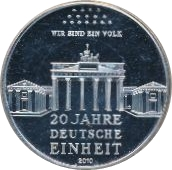 10 Euro (20th Anniversary of German Reunification) – reverse