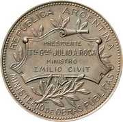 Medal - Opening of the port of Gualeguaychú – reverse