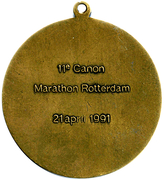 Medal - 11th Canon Marathon Rotterdam – reverse
