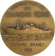 """Medal - Compagnie Maritimes des Chargeurs Réunis """"Edouard Branly"""" – reverse"""