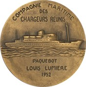 """Medal - Compagnie Maritimes des Chargeurs Réunis """"Louis Lumière"""" – reverse"""