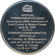 Medallion - Postmasters (200th Anniversary of Cook's arrival in Western Canada) – reverse