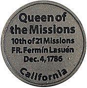 Token - Mission Santa Barbara – reverse