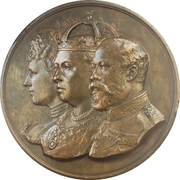 Medal - Opening of the London Bridge (Queen Victoria, Prince Albert Edward and Princess Alexandra of Denmark) – obverse