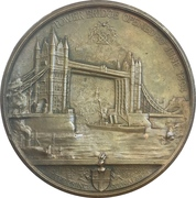 Medal - Opening of the London Bridge (Queen Victoria, Prince Albert Edward and Princess Alexandra of Denmark) – reverse
