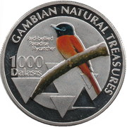 1000 Dalasis (Red-bellied Paradise Flycatcher) – reverse