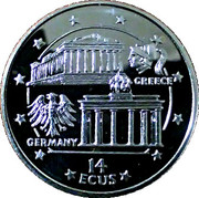 14 ECUS - Elizabeth II (Parthenon and Brandenburg Gate) – reverse