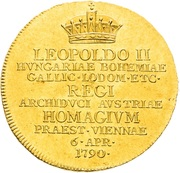1 ¼ Ducat - Leopold II (Homage of Lower Austria estates) – obverse