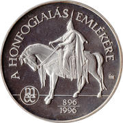 Commemorative coin of Hungarian conquest I (Ag) – obverse
