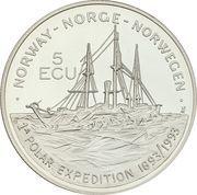 5 ECU - Harald V (Fridtjof Nansen) – obverse