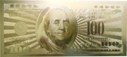 100 Dollars (gold plated) – obverse