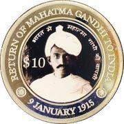 10 Dollars  (Gandhi's Return) – reverse