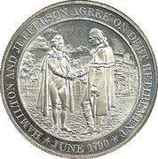 Medal - Hamilton and Jefferson Agreement On Debt Retirement 1790 – obverse