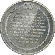 Medal - Hamilton and Jefferson Agreement On Debt Retirement 1790 – reverse