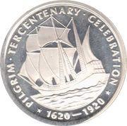 1 oz silver (Pilgrim Tercentenary) – reverse