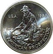 1 oz silver (Engelhard - The American Prospector - E in globe reverse) -  obverse