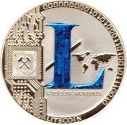 1 oz silver - (Litecoin - Blue L) – reverse