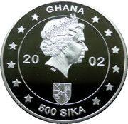 500 Sika (Queen Elizabeth II-Golden Jubilee) – obverse
