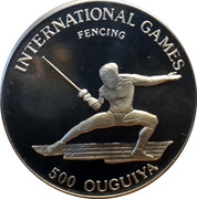 500 Ouguiya (International Athletics - Fencing) – reverse