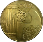 100 Lire (Mussolini Fantasy Medal) – obverse