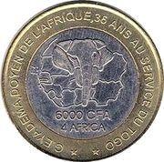 6000 Francs CFA / 4 Africa – reverse