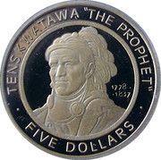 5 Dollars (Shawnee Tribe Gold) – reverse