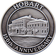 Medallion Commemorating the Sesquicentenary of the Proclaiming of Hobart as a City in 1842. – obverse