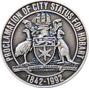 Medallion Commemorating the Sesquicentenary of the Proclaiming of Hobart as a City in 1842. – reverse