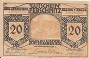 20 Heller (Ferschnitz) – obverse