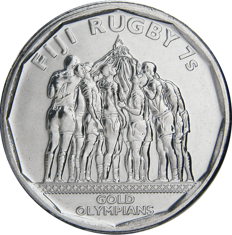 """Fiji 50 cents 2017 /""""Rugby 7/'s/"""" UNC"""