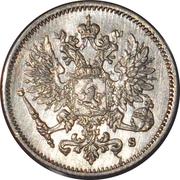 25 Penniä - Aleksandr II / III / Nikolai II (with crown) -  obverse