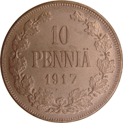 10 Penniä - Nikolai II (Civil War Coinage) – reverse