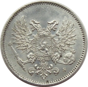 25 Penniä - Nikolai II (Civil War Coinage; without crown) – obverse
