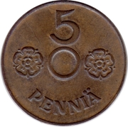 5 Penniä (without center hole) – reverse