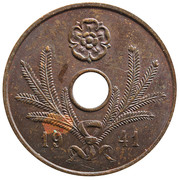5 Penniä (with center hole) – obverse