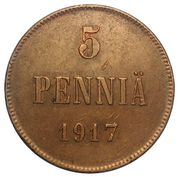5 Penniä - Nikolai II (Civil War Coinage) – reverse