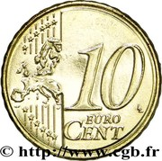 10 Euro Cent (2nd type, 2nd map) -  reverse