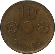 10 Penniä (without center hole) – reverse