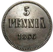 5 Penniä - Aleksandr II – reverse