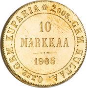 10 Markkaa - Aleksandr II / Nikolai II – reverse
