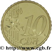 10 Euro Cent (1st type, 1st map) -  reverse